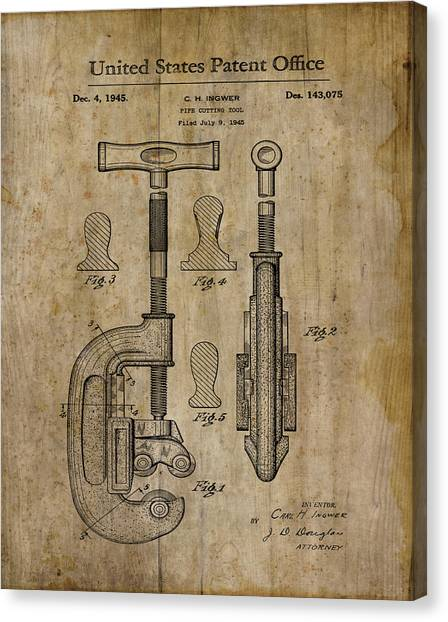 Plumber Canvas Print - Patent Art Pipe Cutter 1945 by Cynthia Decker