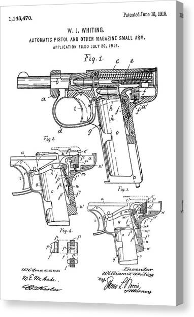 Gun blueprint canvas prints page 7 of 12 fine art america gun blueprint canvas print patent drawing for the 1915 automatic pistol and other magazine small malvernweather Gallery