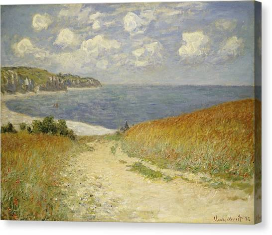 Beach Canvas Print - Path In The Wheat At Pourville by Claude Monet