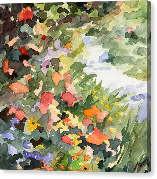 Garden Flowers Canvas Print - Path Monets Garden Watercolor Paintings Of France by Beverly Brown Prints