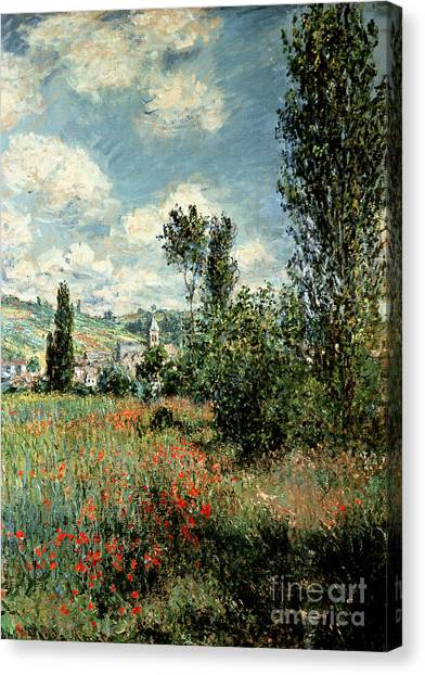 Meadow Canvas Print - Path Through The Poppies by Claude Monet
