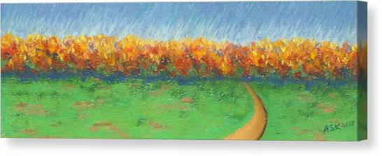 Path To Autumn Trees Canvas Print