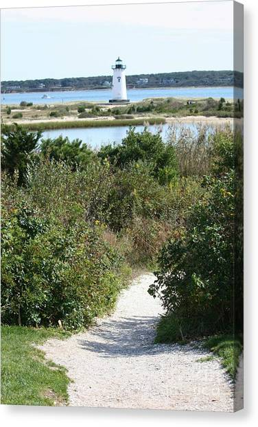 Marthas Vineyard Canvas Print - Path To Edgartown Lighthouse by Carol Groenen