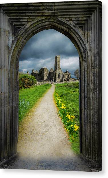 Canvas Print featuring the photograph Path To Ireland's Quin Abbey, County Clare by James Truett
