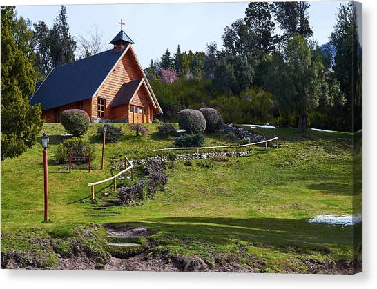 Rustic Church Surrounded By Trees In The Argentine Patagonia Canvas Print