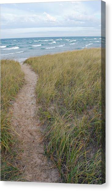 Lake Michigan Canvas Print - Path To The Beach by Twenty Two North Photography