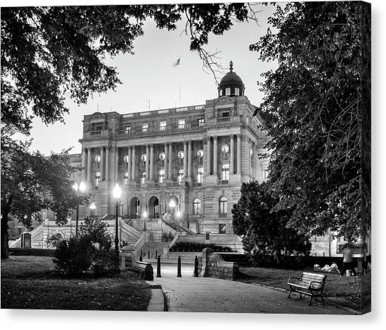 Path To The Library In Black And White Canvas Print