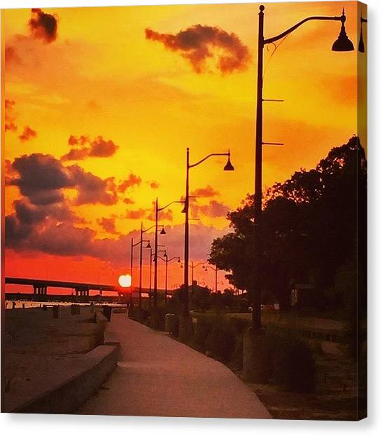 Beach Sunsets Canvas Print - Pathway To The Sun  by Joan McCool