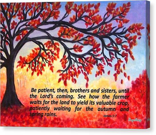 Canvas Print featuring the painting Patient Autumn Tree by Sonya Nancy Capling-Bacle