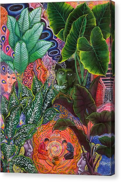 Canvas Print featuring the painting Patinguina Samai  by Pablo Amaringo
