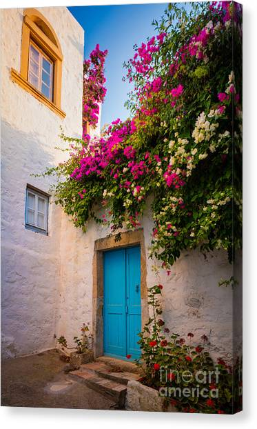 Greece Canvas Print - Patmos Bougainvillea by Inge Johnsson