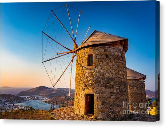 Greece Canvas Print - Patmos Windmills by Inge Johnsson