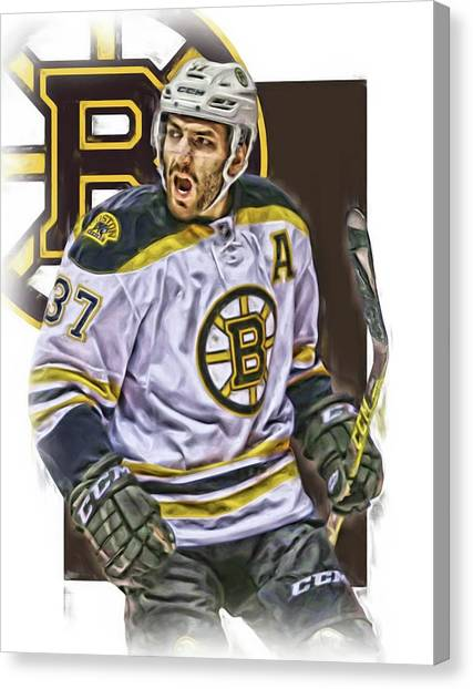 Boston Bruins Canvas Print - Patrice Bergeron Boston Bruins Oil Art 1 by Joe Hamilton