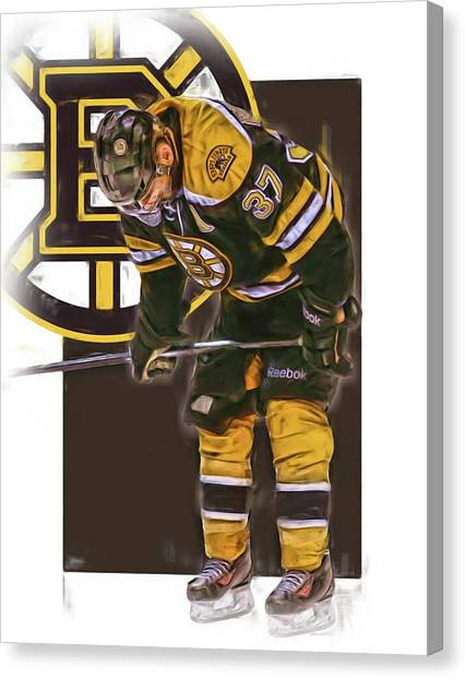 Boston Bruins Canvas Print - Patrice Bergeron Boston Bruins Oil Art 2 by Joe Hamilton