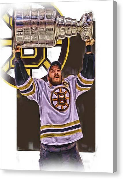 Boston Bruins Canvas Print - Patrice Bergeron Boston Bruins Oil Art 3 by Joe Hamilton