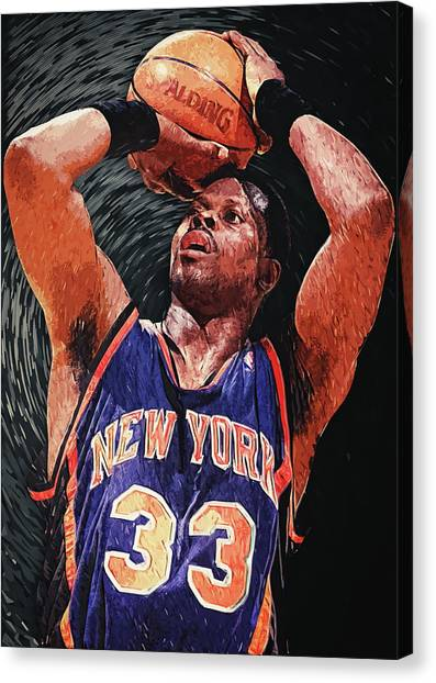 New York Knicks Canvas Print - Patrick Ewing by Zapista