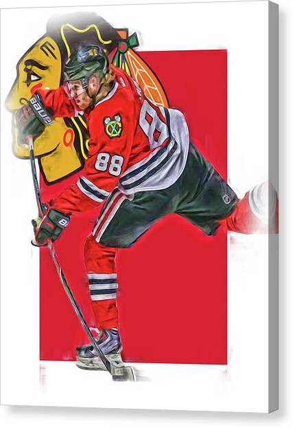 Patrick Kane Canvas Print - Patrick Kane Chicago Blackhawks Oil Art Series 1 by Joe Hamilton