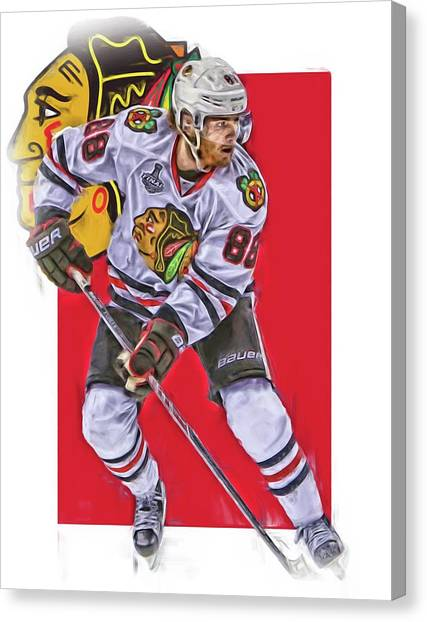 Patrick Kane Canvas Print - Patrick Kane Chicago Blackhawks Oil Art Series 2 by Joe Hamilton