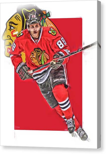 Patrick Kane Canvas Print - Patrick Kane Chicago Blackhawks Oil Art Series 3 by Joe Hamilton