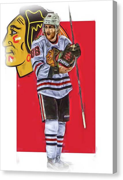 Patrick Kane Canvas Print - Patrick Kane Chicago Blackhawks Oil Art Series 4 by Joe Hamilton