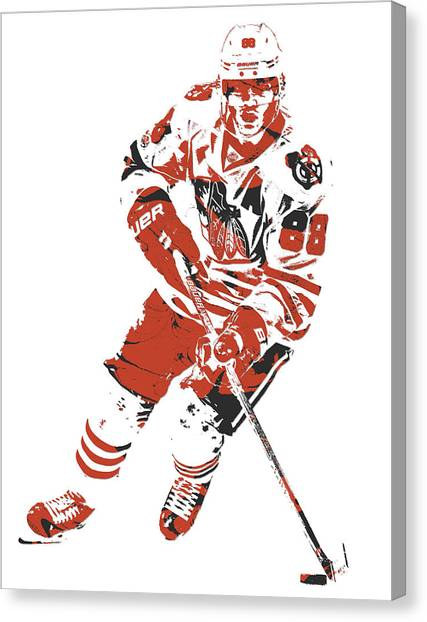 Patrick Kane Canvas Print - Patrick Kane Chicago Blackhawks Pixel Art 1 by Joe Hamilton