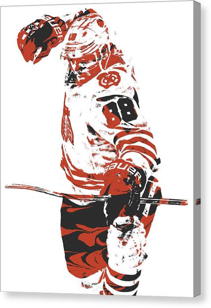 Patrick Kane Canvas Print - Patrick Kane Chicago Blackhawks Pixel Art 2 by Joe Hamilton