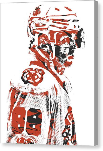 Patrick Kane Canvas Print - Patrick Kane Chicago Blackhawks Pixel Art 3 by Joe Hamilton