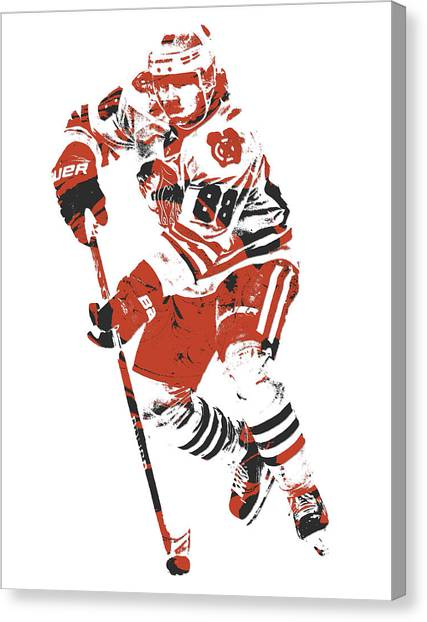 Patrick Kane Canvas Print - Patrick Kane Chicago Blackhawks Pixel Art 4 by Joe Hamilton