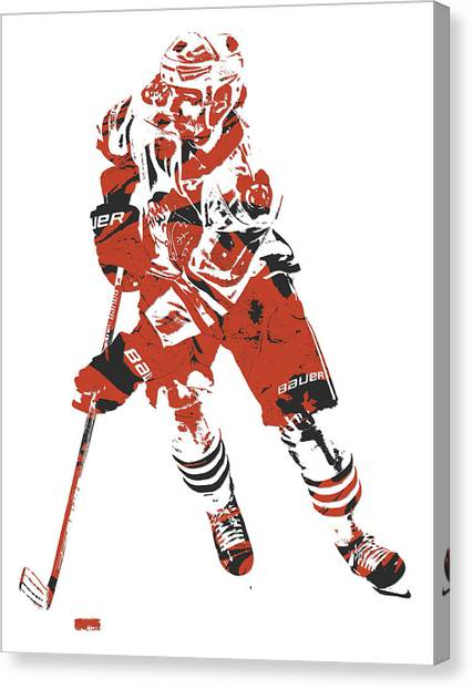Patrick Kane Canvas Print - Patrick Kane Chicago Blackhawks Pixel Art 5 by Joe Hamilton