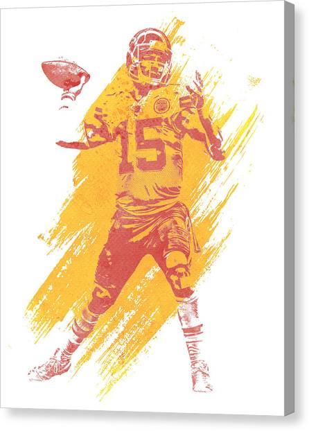 Kansas City Chiefs Canvas Print - Patrick Mahomes Kansas City Chiefs Water Color Art 1 by Joe Hamilton