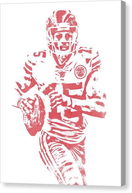 Kansas City Chiefs Canvas Print - Patrick Mahomes Kansas City Chiefs Water Color Art 11 by Joe Hamilton