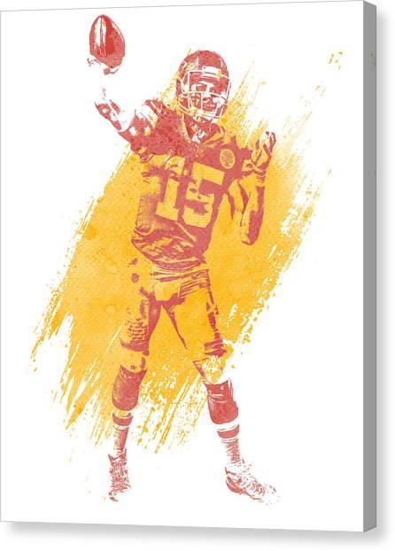 Kansas City Chiefs Canvas Print - Patrick Mahomes Kansas City Chiefs Water Color Art 2 by Joe Hamilton