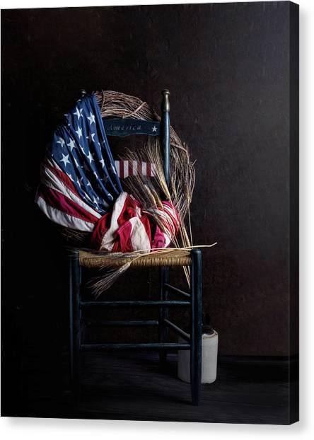 Wreath Canvas Print - Patriotic Decor by Tom Mc Nemar