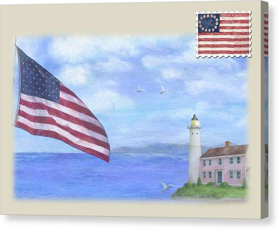 Canvas Print featuring the painting Patriotic Illustrated Lighthouse by Judith Cheng