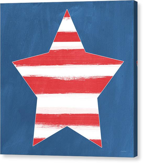 Independence Day Canvas Print - Patriotic Star by Linda Woods