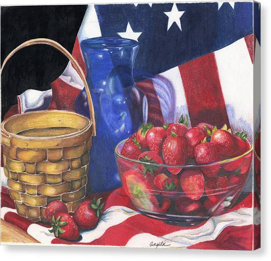 Patriotic Strawberries Canvas Print