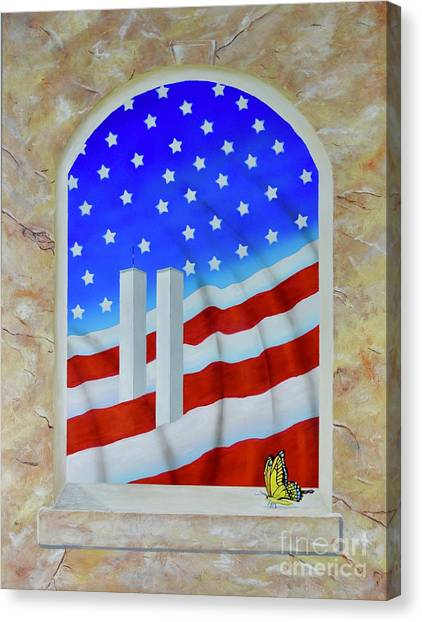 Canvas Print featuring the painting Patriotic View by Mary Scott