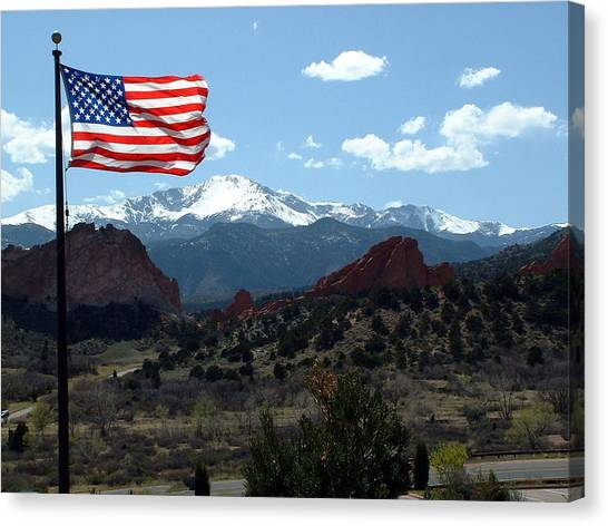 Patriotism At Pikes Peak Canvas Print by Diane Wallace