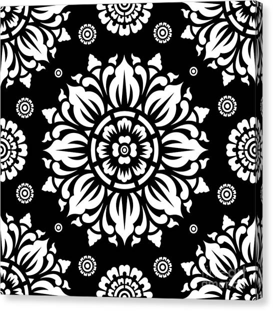 Black And White Canvas Print - Pattern Art 01-1 by Bobbi Freelance