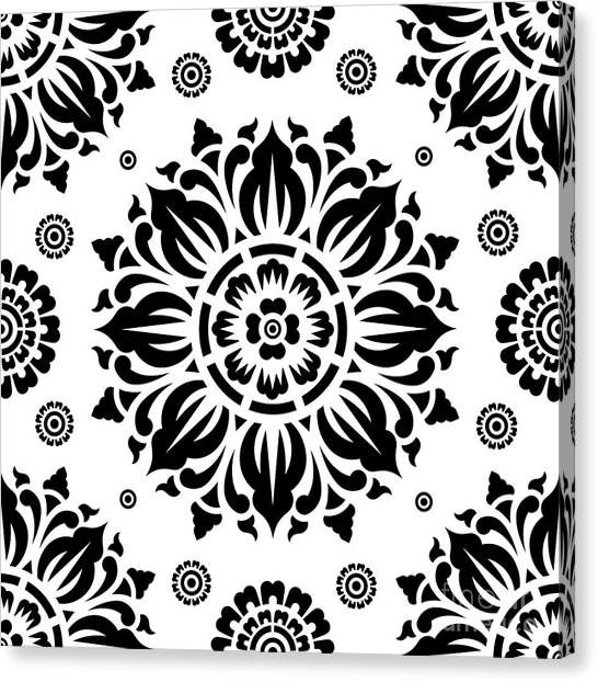 Black And White Canvas Print - Pattern Art 01-2 by Bobbi Freelance