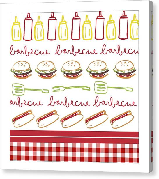 Ketchup Canvas Print - Pattern With Barbecue Lettering, Hot by Gillham Studios