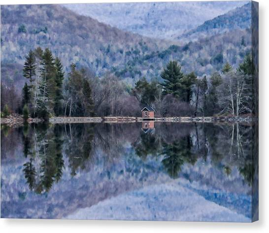Patterns And Reflections At The Lake Canvas Print