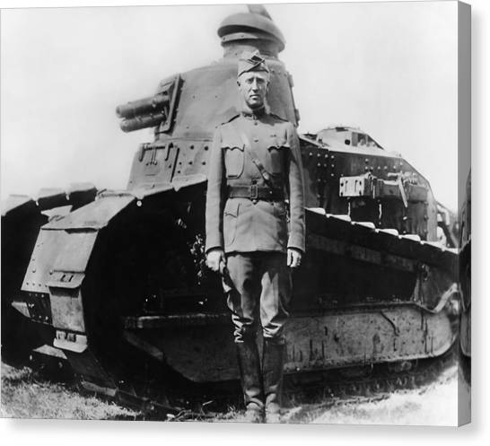 Tanks Canvas Print - Patton Beside A Renault Tank - Wwi by War Is Hell Store