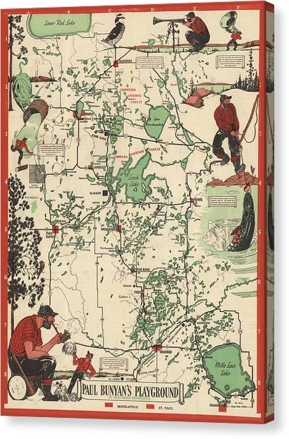 Paul Bunyan's Playground - Northern Minnesota - Vintage Illustrated Map - Cartography Canvas Print