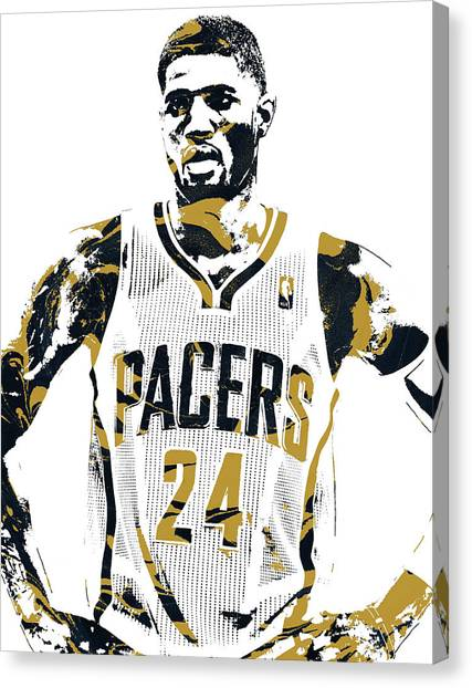 Indiana Pacers Canvas Print - Paul George Indiana Pacers Pixel Art 1 by Joe Hamilton