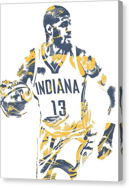 Indiana Pacers Canvas Print - Paul George Indiana Pacers Pixel Art 10 by Joe Hamilton