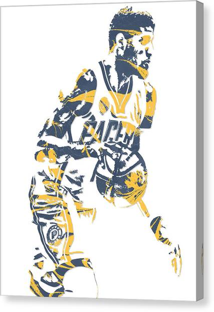 Indiana Pacers Canvas Print - Paul George Indiana Pacers Pixel Art 11 by Joe Hamilton