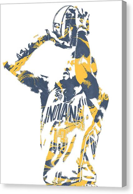 Indiana Pacers Canvas Print - Paul George Indiana Pacers Pixel Art 12 by Joe Hamilton