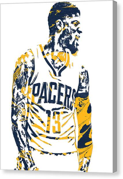 Indiana Pacers Canvas Print - Paul George Indiana Pacers Pixel Art 4 by Joe Hamilton