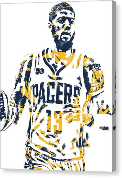 Indiana Pacers Canvas Print - Paul George Indiana Pacers Pixel Art 7 by Joe Hamilton